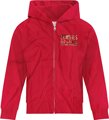 Price comparison product image BSW Girl's Zombies Eat Brains You're Safe Bloody Splatter Zip Hoodie LRG Red