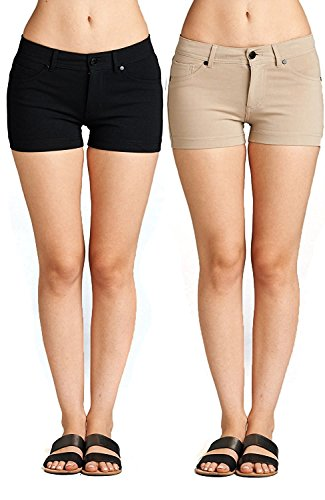 Emmalise Women's Summer Casual Stretchy Low Rise Booty Shorts, Black Khaki 2Pk, M