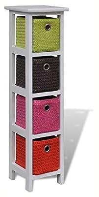 PROGLEAM Storage Cabinet & Locker, Storage Rack with Multi-Color Baskets Wood
