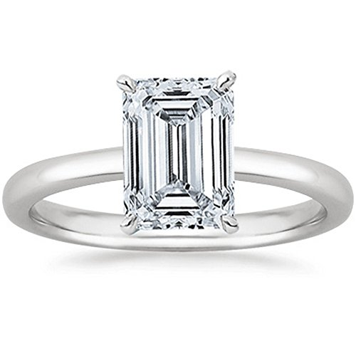 (0.9 Near 1 Ct GIA Certified Emerald Cut Solitaire Diamond Engagement Ring 14K White Gold (K Color VS1-VS2 Clarity))