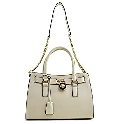 Dasein Large Saffiano Leather Tote Briefcase Satchel Bag with Chain Shoulder Strap