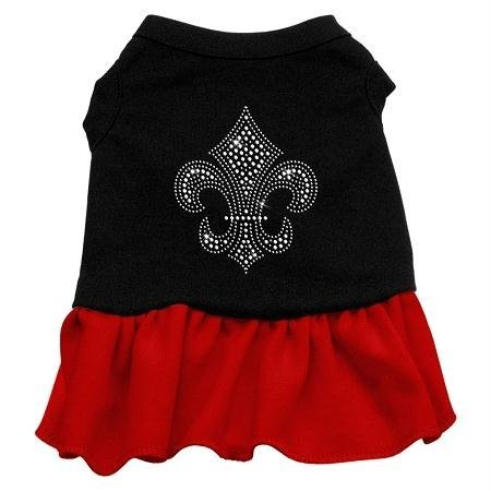 Mirage Pet Products Fleur De Lis Silver Rhinestone 10-Inch Pet Dress, Small, Black with Red