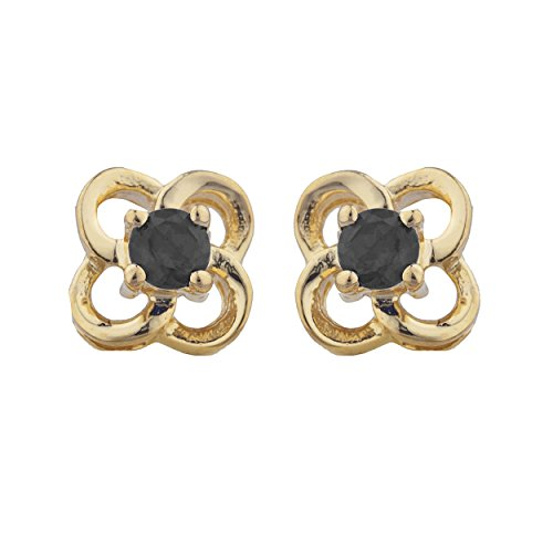- Genuine Black Onyx Love Knot Stud Earrings 14Kt Yellow Gold Rose Gold Silver