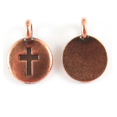 Charms Pewter Cross (TierraCast Pewter Charms-COPPER ROUND CROSS 12x16mm (2))