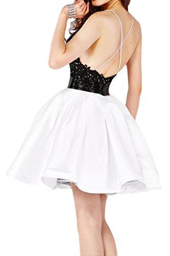 sunvary una línea spagahtti cuello Backless Vestido de Cóctel, satén fiesta Homecoming corta blanco y negro