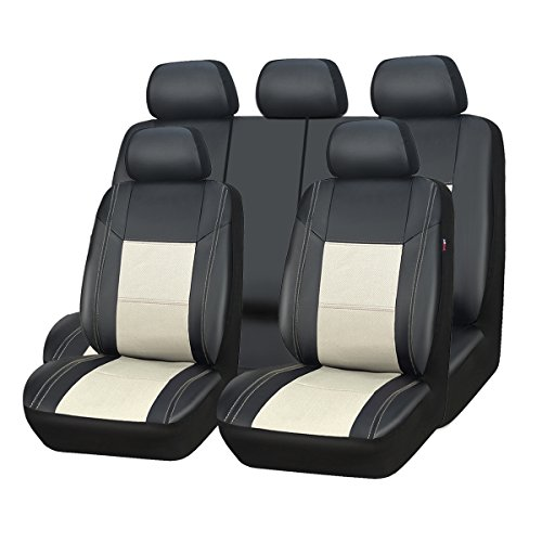 (CAR PASS Skyline PU Leather CAR SEAT Covers - Universal FIT for Cars,SUV,Vehicles (11PCS, Black with Cream))