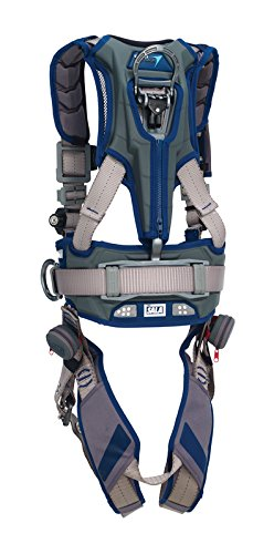 3M DBI-SALA 1112538 ExoFit STRATA, Aluminum Back/Side D-Rings, Tri-Lock Revolver QC Buckles with Sewn in Hip Pad/Belt, X-Large, Blue/Gray