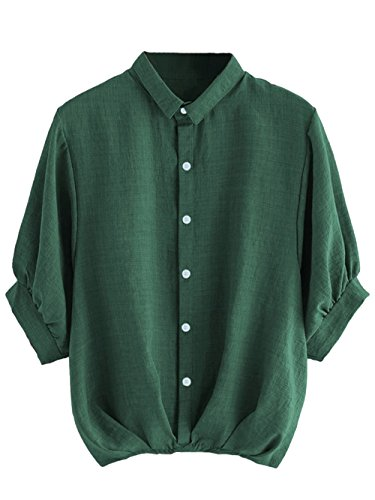 (Milumia Women's Lantern Sleeve Pleated Button Down Work Blouse Shirt Green)