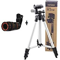 BLUE DIAMOND 3110 Portable and Fold-able Camera Tripod with Clip Holder Bracket, Stand with 3-Dimensional Head 150 gm (Black), 8X Zoom Lens for All Android, iOS and Windows Device (Random Colour)