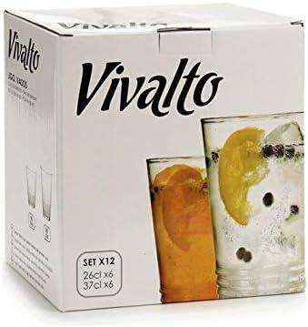 TU TENDENCIA UNICA Juego de 12 Vasos Soda-Lime-silice Linea vivalto. 6 Vasos de 26 cl y 6 Vasos de 37 cl