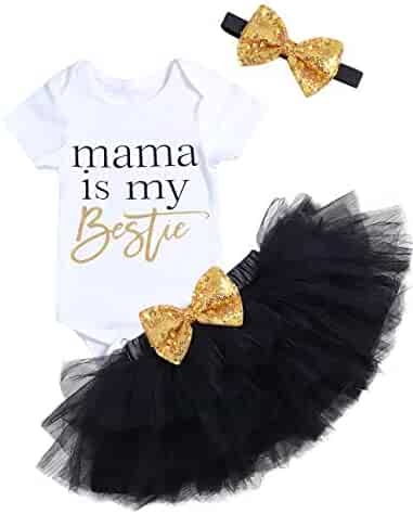a779c07a4 Mother's Day Newborn Infant Baby Girl Outfits Short Sleeve Romper Bodysuit+Tulle  Tutu Dress+