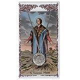 "Catholic Saints Necklace for Men or Women, Pewter Silver St. Thomas More Medal & 24"" Chain, Prayer Card Set. Patron Saint of Adopted Children, Civil Servants, Court Clerks, Large Families, Lawyers, Politicians, Widowers & Step-parents"