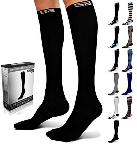 SB SOX Lite Compression Socks (15-20mmHg) for Men & Women - Best Stockings for Running, Medical, Athletic, Edema, Diabetic, Varicose Veins, Travel, Pregnancy (Solid - Black, S/M)