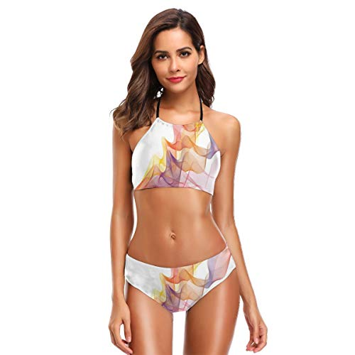 Women's Two Piece Bikini Swimsuits,Digital Design Vapor Waves As Abstract Multicolored Smoke Figure with Series of Lines L
