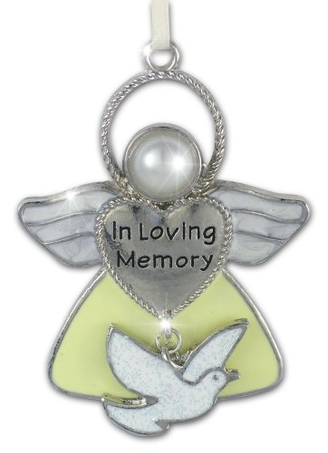 BANBERRY DESIGNS Remembrance Angel Ornament - In Loving Memory Ornament - Angel with Dove Charm - Stocking Stuffer - Bereavement Gifts