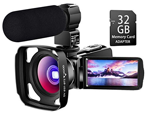 【Full Upgrade】 Ultra HD Video Camera Camcorder with Powerful Microphone 1080P Vlogging Camera YouTube Digital Recorder Camera Remote Control,Lens Hood, Battery Charger