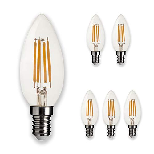 (LEDesign 800268 B10 Candle LED Vintage Filament Light Bulbs, Dimmable, 4.5W (40W Equivalent), 450 Lumen, 2700K (Soft Warm White), E26 Base, IC Driver, CRI 80+ (Pack of 6))