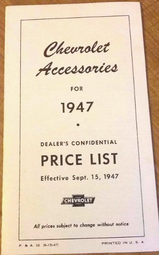 1947 Chevrolet Cars, Trucks and Accessories Suggested Delivered Prices Brochure ()