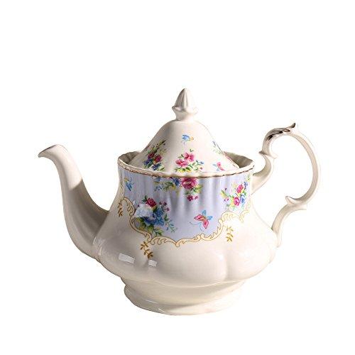 Jomop Pretty Floral Pattern Porcelain Ceramic Decorative Handpainted Teapot 24 oz (Blue) by Jomop
