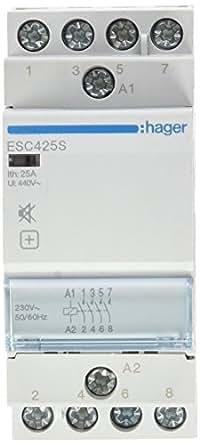 Hager ESC425S Contactor Silencioso, 25A, 4NA, 230V