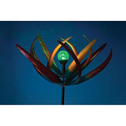 The Original Solar Multi-Color Tulip Wind Spinner-Solar Powered Glass Ball Emits Color-Changing Light – Made of Metal…