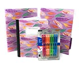 Back to School Bundle, Includes 1 Pack of Feather Folders (2 Pack) 1 Feather Composition Book (100 Sheets) and 1 Pack of Colored Pens (8 pens)