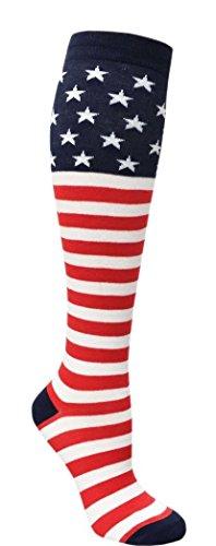 JAnn-Womens-1-Pack-4th-Of-July-American-Flag-Knee-High-Socks-9-11