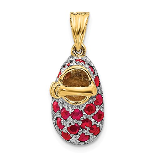 ICE CARATS 14kt Yellow Gold Red Ruby Baby Shoe Pendant Charm Necklace Birthstone Fine Jewelry Ideal Gifts For Women Gift Set From Heart 14kt Gold Baby Shoe Jewelry