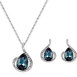 Women's Rhinestone Pendant Necklace and Earring Set