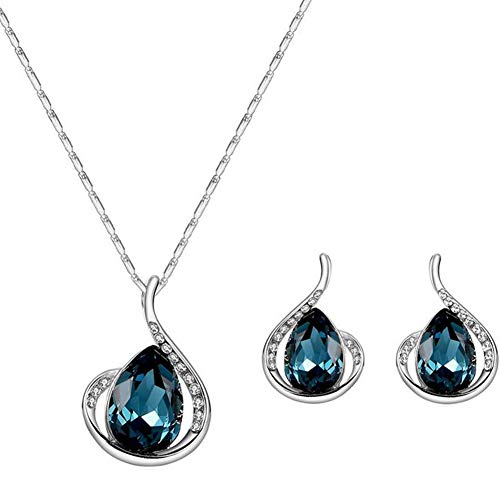 andy cool 1Set Fashion Rhinestone Necklace Earrings Set Elegant Crystal Pendant Jwellery Set for Women Girls