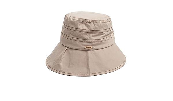 d29ff452be6a0 MXD Sombrero Verano Mujer Protección Solar Sombrero Sombrero Viajes Mar  Sombrero sombrilla Plegable Sombrero de Playa Sombrero de Playa a Prueba de  Viento  ...