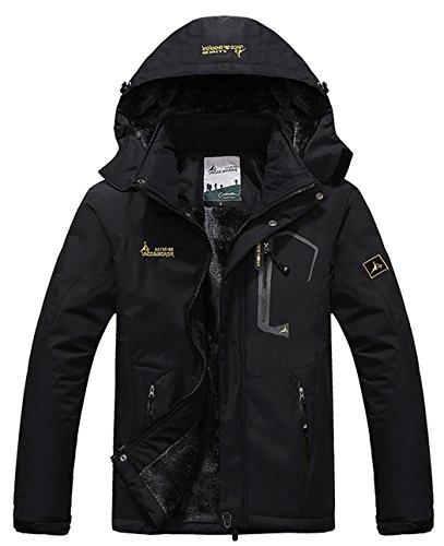Cloudy Men's Mountain Jacket Fleece Windproof Ski Jacket(Black,XL)