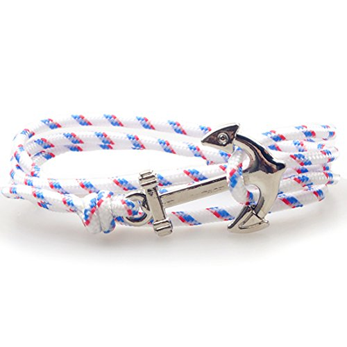 SWEETIE 8 Unisex Men's Women's Silver Nautical Anchor Nylon Rope Bracelet - France White