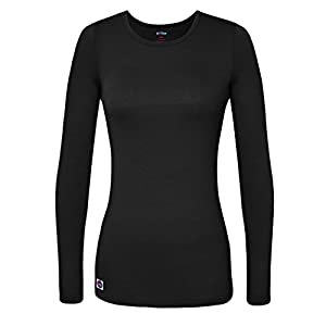 Sivvan Women's Comfort Long Sleeve T-Shirt/Underscrub Tee - S8500 - Black - XL
