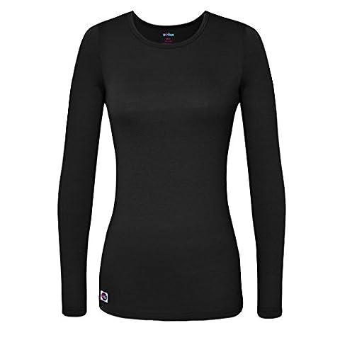 Sivvan Women's Comfort Long Sleeve T-Shirt / Underscrub Tee - S8500 - Black - M - Smiley Black Cap