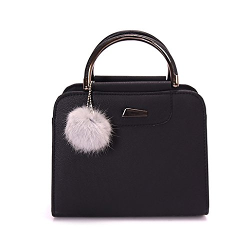 Tote Black Tangbasi® Leather Faux Bags Elegant Women Pompom Handbag Ball with Purse Shoulder 44qrTHEWw