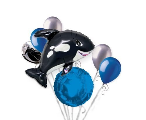 Amazon.com : 7 pc Orca Black Killer Whale Balloon Bouquet Party Decoration Fish Ocean Sea : Beauty