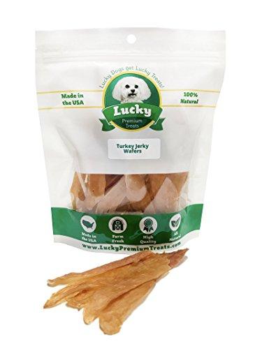 Turkey Jerky Wafer Dog Treats - 98% Fat Free Restaurant Quality Turkey Breast Treats For Dogs by Lucky Premium Treats 3 oz Resealable Bag