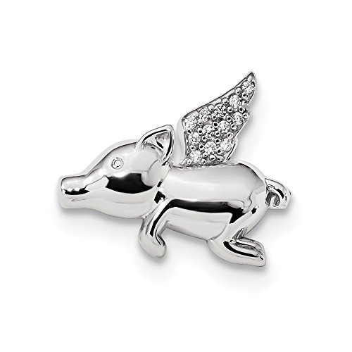 - Sterling Silver Polished with CZ Cubic Zirconia Flying Pig Chain Slide Pendant (19.4mm x 15.5mm)