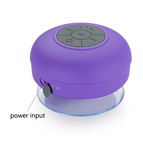 mobbysol™ Portable Bluetooth Speaker with Suction Subwoofer Shower Waterproof Wireless Handsfree  Purple