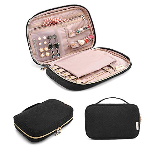 bagsmart Jewelry Organizer Bag Travel Jewelry Storage Cases for Necklace, Earrings, Rings, Bracelet, Black from bagsmart