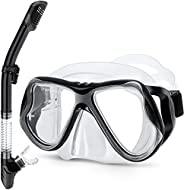 Greatever Dry Snorkel Set,Panoramic Wide View,Anti-Fog Scuba Diving Mask,Easy Breathing and Professional Snork
