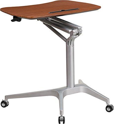 Emma Oliver Mobile Sit-Down, Stand-Up Mahogany Computer Ergonomic Desk