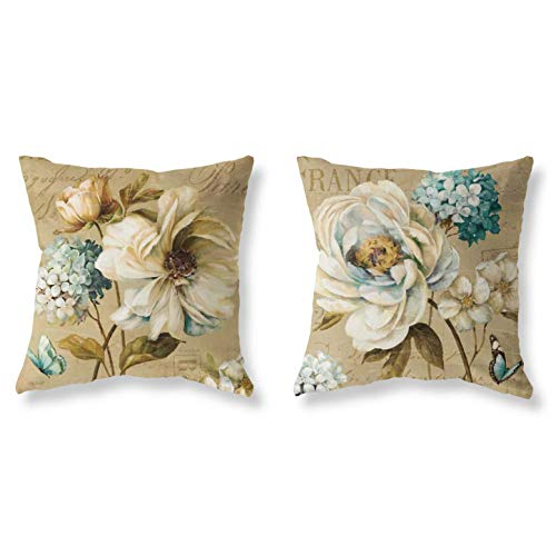 Pack of 2 Decorative Throw Pillow Covers Sets 18x18 Inch Summer Theme Retro Yellow Butterfly Floral Printing Pillowcases Square Outdoor Cushion Cover Pillows Covers for Home Decor Sofa Car Bedroom (Sofa Floral Set)