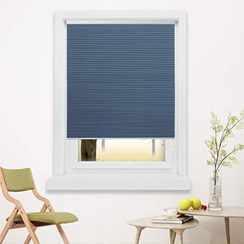 Grandekor Cellular Shades Cordless Blinds Blackout Fabric Shades Honeycomb Door Window Shades Ocean Blue-White, 24x64 inch