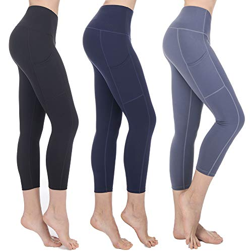 MEATFLY. Women's Yoga Workout Athletic Capris Leggings with Pockets High Waist Tummoy Control Yoga Pants, Deep Blue, Small ()
