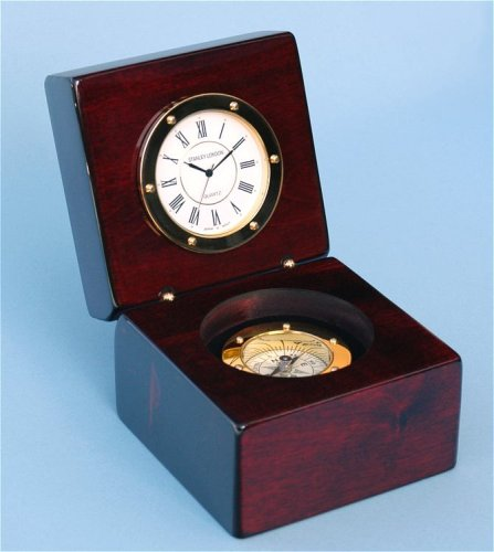 Stanley London Piano Finished Mahogany Desk Clock with Ma...