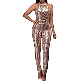 Sunyastor Women Sparkly Sequins Lace Up Backless O Neck Sleeveless Bodycon Long Jumpsuit Off Shoulder Romper Clubwear S Xl Pink