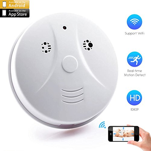 CAMXSW Upgraded Wi-Fi Smoke Detector Camera 1080p HD Mini Nanny Cam with Motion Detection, Wireless IP Home Security Surveillance Camera Android IOS Free App Live Stream Video Recorder, White by CAMXSW