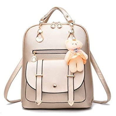 Alice Women s PU Leather Backpacks School Bags (Black Off-White, Small Size) e39658af37